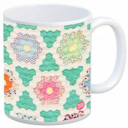 Quilt Happy - Hexagons Vintage Quilt Mug Kaffeebecher Grandmothers Flower Garden