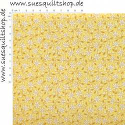 Henry Glass 1930s Yellow Monotone Daisy Blümchen gelb weiss