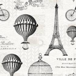 Wilmington Ivory Toile, Eiffelturm, Heissluftballons usw. schwarz elfenbein