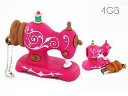 USB Stick 4 GB Motiv Antike Nähmaschine pink