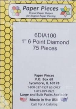 Papierschablonen Rauten 60°,   1 inch, ca.  75 stk./Packung