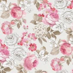 Penny Rose Fabric English Rose große zarte Rosen rosa auf creme