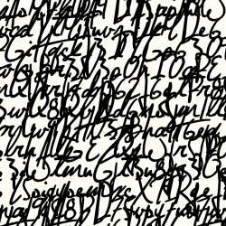 Stof JERSEY Avalana Schrift schwarz auf weiß