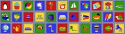 Stof Memory Fun, kleine Bilder auf blauem Hintergrund, Panel Rapport ca. 60 cm, bitte als Stück bestellen!