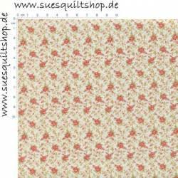 Benartex Modern Antiques Cream Flowers 1800er Repro Blümchen rosa auf creme