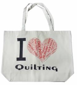 Canvas Tote Bag, Einkaufstasche I Love Quilting, Segeltuch