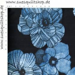 Benartex Venezia Blumen blau auf schwarz >>> Mindestbestellmenge 1 Meter <<<