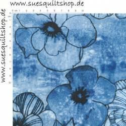 Benartex Venezia Blumen heller blau >>> Mindestbestellmenge 1 Meter <<<