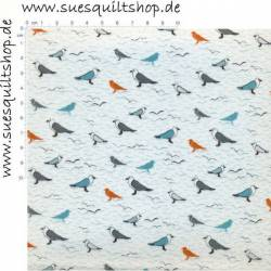 Fabric Freedom Seagull Vögel bunt auf creme