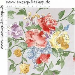 Henry Glass Bouquet Splendor Light Grey, Blumensträuße bunt auf hellgrau-blau