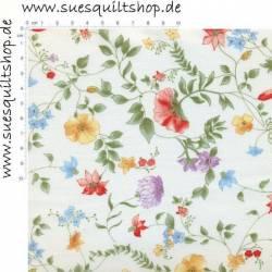 Henry Glass Bouquet Splendor Delicate Flowers, zarte Ranken bunt auf creme