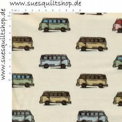 Benartex Vintage Scrapbook Vans, VW Busse bunt auf beige