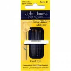 John James Applikationsnadeln Straw Needles Gold N Glide Milliner Needles Hutmachernadeln No. 11
