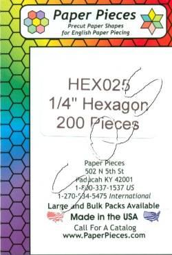 Papierschablonen Hexagons    1/4 inch ca.  200 stk./Packung