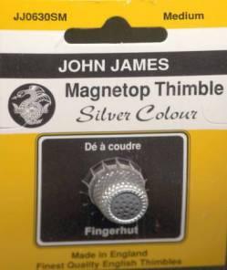 Magnet Top Thimble silberfarben Größe  M (16), Fingerhut mit magnetischer Spitze