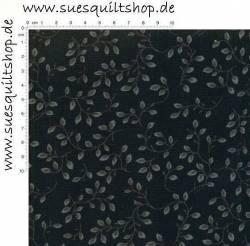 Henry Glass Folio Rückseitenstoff Blätter u. Ranken grau auf schwarz