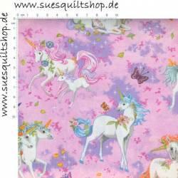 Nutex Pretty Please Unicorns, Einhörner rosa violett >>> Mindestbestellmenge Reststück 0,77 m <<<
