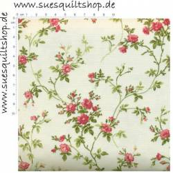 Maywood Soft White Poppies Rosen rosa Ranken grün auf creme