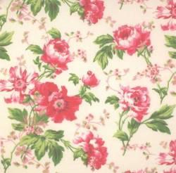 Troy Mini Cantate große Rosen rosa auf natur >>> Mindestbestellmenge 1 Meter <<<