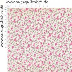 Santee kleine Rosen und Ranken pink auf weiss >>> Mindestbstellmenge 1 Meter <<<
