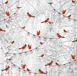Henry Glass Grey Cardinals in Snow