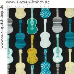 Fabric Freedom Gitarren türkis grün gelb weiß auf schwarz
