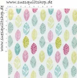Fabric Freedom Blätter grün türkis pink auf weiss