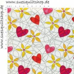 Benartex Breezy Blooms Herzen rot Blumen gelb offwhite