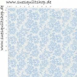 Choice Fabrics Classic Novelties Blümchen hellblau weiss
