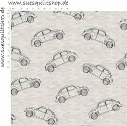 Stof SWEAT Avalana Melange VW Käfer auf grau meliert