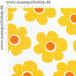 Robert Kaufman Coordinated große Blumen gelb orange auf weiss Rückseitenstoff überbreit