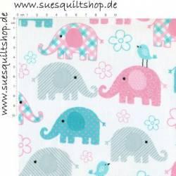 Spectrix Elefanten rosa grau türkis auf weiss >>> Mindestbestellmenge 1 Meter, nur 9,90 EUR/m! <<<