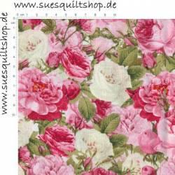 David Textiles Paris Spring Multi Vintage Rose Bouquet