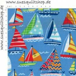 Spectrix Sail Away Segelboote bunt auf blau >>> Mindestbestellmenge 1 Meter <<<