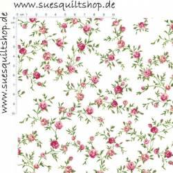 Stof Rosies Summer Rosen rosa grün