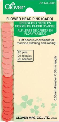 Clover Stecknadeln mit Blümchenkopf (Flachkopf) 0.55 x 50 mm dünn, 20 stk./Packung