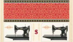 Robert Kaufman Sewing with Singer Featherweight Panel schwarz, Rapport ca. 0,60 m breit