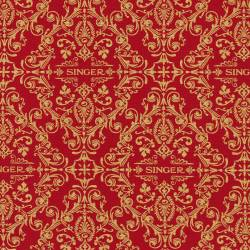 Robert Kaufman Sewing With Singer Red Damask Ornamente gold auf rot