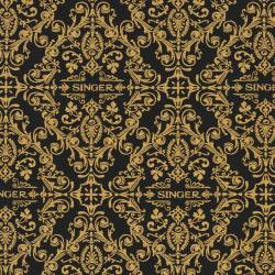 Robert Kaufman Sewing With Singer Black Damask Ornamente gold auf schwarz