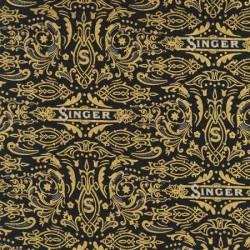 Robert Kaufman Sewing With Singer Dekor Schriftzug SINGER gold auf schwarz