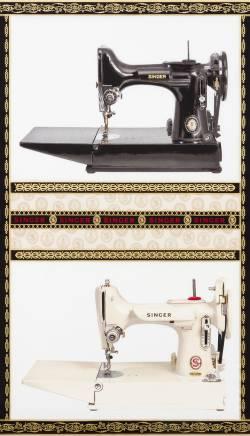 Robert Kaufman Sewing with Singer Featherweight Panel schwarz UND weiss, ca. 0,6 m breit