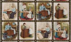 Kaufman Antique Vintage Scene Singer Sewing Antike Nähmaschinen Paneel ca. 60 cm Rapport