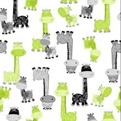 A E Nathan Comfy Flannels Giraffen grün grau weiss *FLANELL*