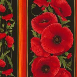 Timeless Treasures Tuscan Poppies Border Stripe, Mohnblumen Bordüre