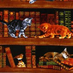 Timeless Treasures Library Cats bunt schwarz gold