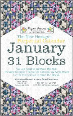 The New Hexagon Perpetual Calendar Paper Piece Pack Schablonen             January