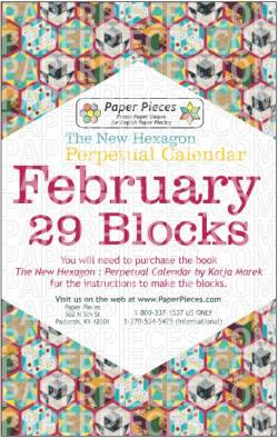 The New Hexagon Perpetual Calendar Paper Piece Pack Schablonen            February
