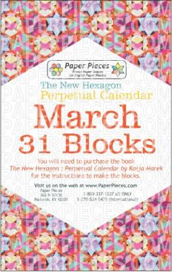 The New Hexagon Perpetual Calendar Paper Piece Pack Schablonen           March
