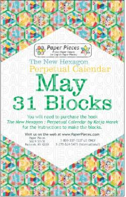 The New Hexagon Perpetual Calendar Paper Piece Pack Schablonen         May
