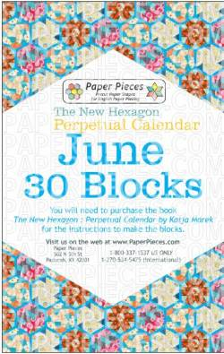 The New Hexagon Perpetual Calendar Paper Piece Pack Schablonen        June